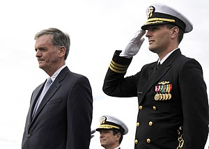 Judd Gregg - Gregg (left) at the commissioning ceremony for the USS New Hampshire (SSN-778).
