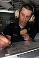 US Navy 081130-N-2456S-049 Aviation Boatswain's Mate (Equipment) 1st Class Tony Pavao logs all open valves in the rundown log.jpg
