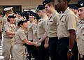 US Navy 081203-N-6326B-204 Rear Adm. Christine S. Hunter, Commander, Naval Medical Center San Diego, congratulates Sailors after a frocking ceremony promoting166 Sailors at the command.jpg