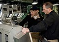 US Navy 081216-N-6611F-271 Commander Don Gabrielson, commanding officer of the littoral combat ship USS Freedom (LCS 1) Blue Crew explains the touch screen navigational system on the ship's bridge.jpg