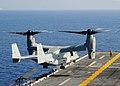 US Navy 091028-N-8132M-212 An MV-22B Osprey from Marine Medium Tiltrotor Squadron (VMM) 263 (Reinforced) lands aboard the amphibious assault ship USS Bataan (LHD 5) during routine flight operations.jpg