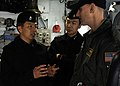 US Navy 100310-N-9094S-321 Lt. Cmdr. Nathan Fugate talks about Navy life with Republic of Korea navy Lt. Cmdr. Sang Ki Shin and Lt. Eui Sub Song aboard the U.S. 7th Fleet command ship USS Blue Ridge (LCC 19).jpg