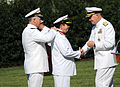US Navy 110817-N-FC670-460 Chief of Naval Operations (CNO) Adm. Gary Roughead congratulates Colombian Chief of Navy Adm. Alvaro Echandia Duran afte.jpg