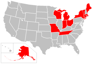 Cryoseism - US States with reported cryoseisms.