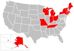 Cryoseism - US States with reported cryoseisms.