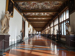 Uffizi - View of hallway. The walls were originally covered with tapestries.