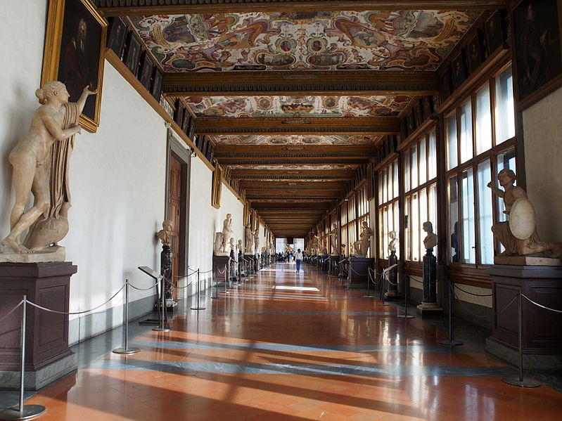 Uffizi Gallery hallway. Florence, Italy.