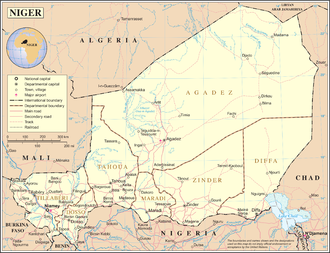 Outline of Niger - An enlargeable map of the Republic of Niger