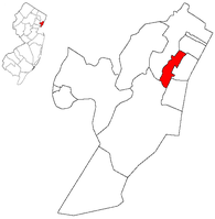 Union City highlighted in Hudson County. Inset: Location of Union County highlighted in the State of New Jersey.