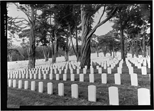 Heritage Documentation Programs - Image: VIEW OF CEMETERY SECTION NAWS (NEW ADDITION WEST SIDE) AMONG THE EUCALYPTUS TREES. VIEW TO SOUTH. San Francisco National Cemetery, 1 Lincoln Boulevard, San Francisco, San Francisco HALS CA 1 7