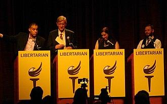 Libertarian Party presidential debates and forums, 2016 - Image: VP debate Libertarian Convention (27266650516)