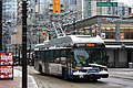 Vancouver trolleybus on Robson St in snow (2008).jpg