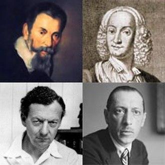 H. C. Robbins Landon - From top left, clockwise: Monteverdi, Vivaldi, Stravinsky and Britten