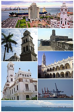 Top, from left to right: Cityscape with regional PEMEX headquarters, Cathedral of Veracruz, San Juan de Ulúa naval complex, Carranza Lighthouse, City Hall, City Port and skyline