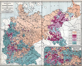 Silesia - Confessions in the German Empire (Protestant/Catholic; ca. 1890). Lower Silesia was mostly Protestant, while Glatz and Upper Silesia were mostly Catholic.