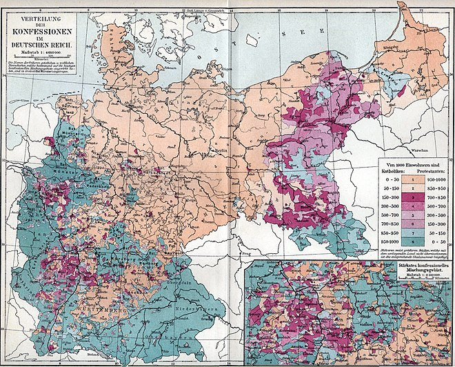 Confessions in the German Empire (Protestant/Catholic; ca. 1890). Lower Silesia was mostly Protestant, while Glatz and Upper Silesia were mostly Catholic. Verbreitung der Konfessionen im deutschen Reich.jpg