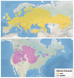 Grey partridge - Image: Verbreitungskarte Rebhuhn