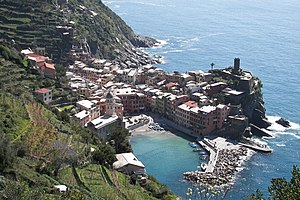 Vernazza town in Liguria, Italy. Vernazza is i...