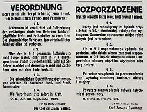 Zivilarbeiter - Image: Verordnung 30 september 1939
