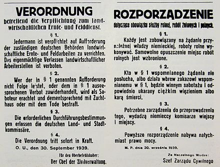 German notice from 30 September 1939 in occupied Poland, warning of the death penalty for refusal to work during harvest Verordnung 30 september 1939.JPG