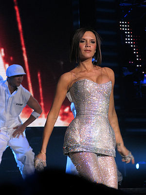 Victoria Beckham performing with the Spice Gir...