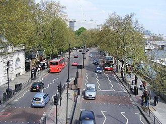 2012 Olympic Marathon Course - Victoria Embankment is traversed twice in each lap, once in each direction