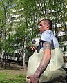 Victory Day (2013-05-09) in Moscow. A man with a swastika tattoo..JPG