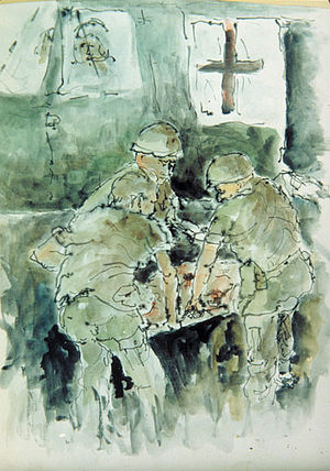 Casualty evacuation - Waiting to Lift Off by James Pollock, Vietnam Combat Artists Program, CAT IV, 1967. Courtesy of National Museum of the U. S. Army.