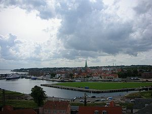 View of Elsinore, Denmark, from Kronborg Castle.
