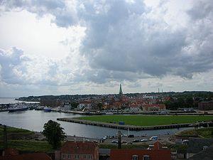 View of Elsinore, Denmark, from Kronborg Castle.