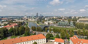 Ex – Amici come prima! - Vilnius, as viewed from Gediminas' Tower looking north-west, a perspective similar to the one shown in the film.