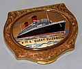 Vintage Stratton RMS Queen Elizabeth Women's Powder Compact, Measures 3.25 Inches Wide, Circa 1950 (29344417774).jpg