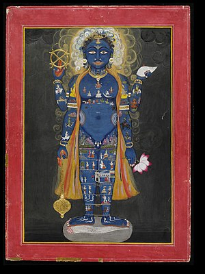 Loka - Vishvarupa of Vishnu as the Cosmic Man with the three realms: heaven - Satya to Bhuvar loka (head to belly), earth - Bhu loka (groin), underworld - Atala to Patala loka (legs).