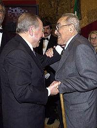 Vittorio Foa con Carlo Azeglio Ciampi, 2001