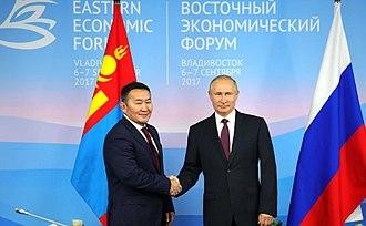 Khaltmaagiin Battulga - Vladimir Putin and Battulga Khaltmaa in Vladivostok