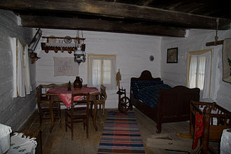 Interior design - Typical interior of one of the houses in the Folk Architecture Reservation in Vlkolínec (Slovakia)