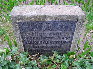 Volkssturmmann - Gravestone of a young Volkssturmmann in Berlin, killed in action on April 30, 1945