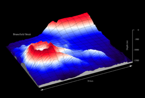Bathemetric mapping of the seamount, mapped with the swath sonar system of RV Polarstern during cruise ANT-XI/3.