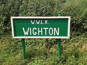 Wighton Halt railway station - Station name board.