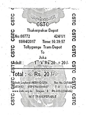 Calcutta State Transport Corporation - CSTC AC series mini bus (AC4B) ticket sample (printed)