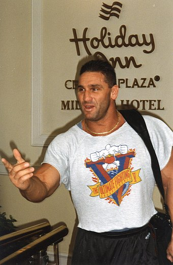 Shamrock in 1998 at a WWF event wearing a T-shirt for the UFC 5 pay-per-view where he fought Royce Gracie for half an hour WWE - Manchester 040498 (5).jpg