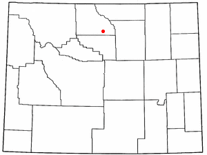 Hyattville, Wyoming - Image: WY Map doton Hyattville