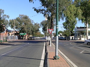 Walgett, New South Wales - Main street, Walgett (Fox Street/Castlereagh Highway) looking south over Wee Waa Street