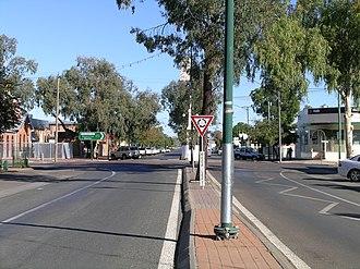Walgett, New South Wales - Main street, Walgett (Fox Street/Castlereagh Highway) looking south over Wee Waa Street
