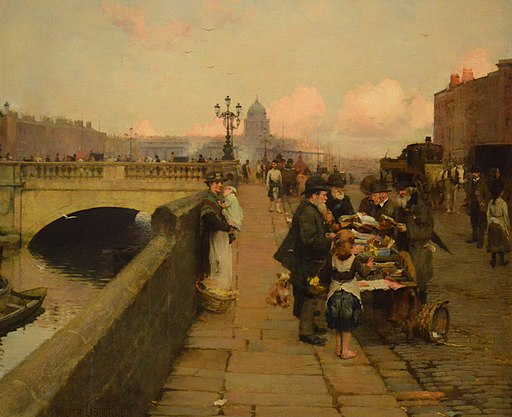 Walter Frederick Osborne, The Dublin Streets; a vendor of Books (1889) - NGI cr