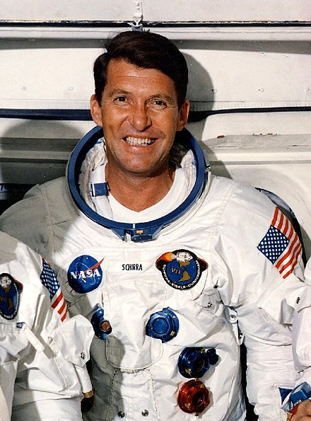Wally Schirra one of the earliest NASA astronauts to enter into space (1962), taking part in the Mercury Seven program and later Gemini and Apollo programs Walter M. Schirra (Apollo 7).jpg