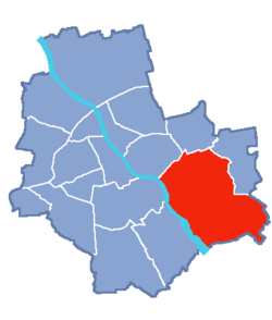 Location of Wawer within Warsaw