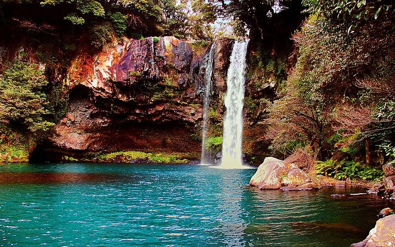 File:Waterfall on Jeju Island, Korea.jpg