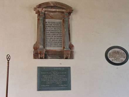 The memorial to Waterhouse at Yattendon, Berkshire. Waterhouse memorial Yattendon, Berkshire.jpg