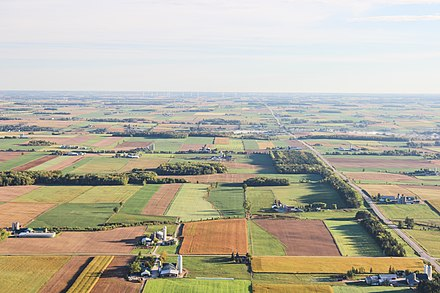 Aerial view of farms in Waterloo. A significant portion of the land in Southern Ontario is used as farmland. Waterloo, Canada (Unsplash v1ar8e1dOjg).jpg